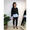 Nicole Lightweight Pinstripe Shirt Jumper - Black