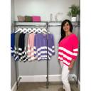 V-neck Striped Jumper - Pink