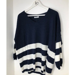 Lucy Cobb V-neck Striped Jumper - Navy