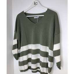 Lucy Cobb V-neck Striped Jumper - Light Khaki