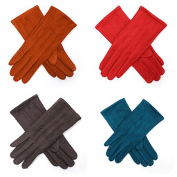 Lucy Cobb Velour Gloves - Red