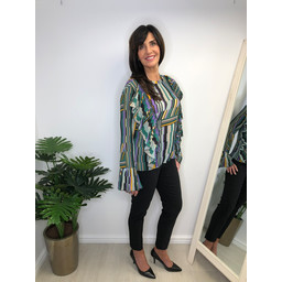 Lucy Cobb Pisa Printed Blouse - Green Mix