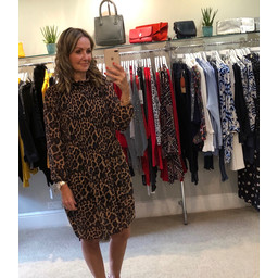 Lucy Cobb Clemmie High Neck Dress in Leopard Print