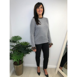 Lucy Cobb Carrie High Neck Jumper in Grey Animal Print
