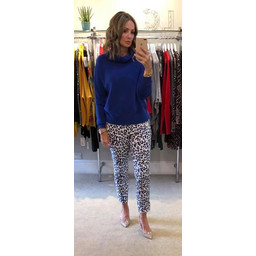 Robell Trousers Nena 09 Leopard Print Trousers - Blue Animal Print