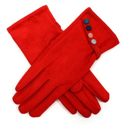 Lucy Cobb Velour Multi Colour Button Gloves - Red