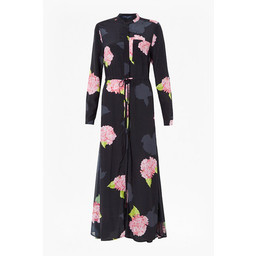French Connection Eleonore Drape Midi Shirt Dress - Black Floral