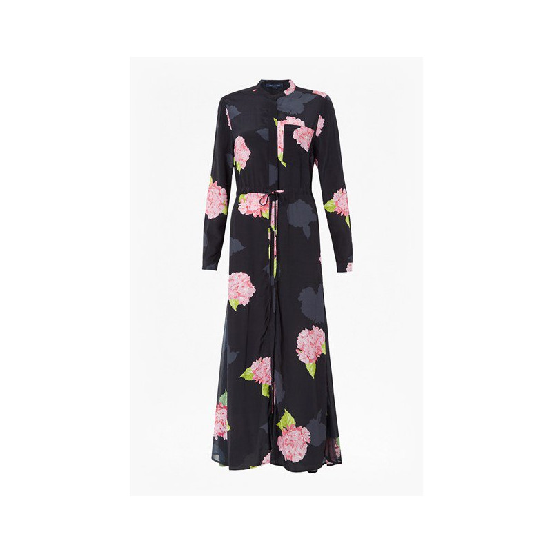 6186c271d9 French Connection Eleonore Drape Midi Shirt Dress in Black Floral