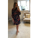 Adele High Neck Dress - Navy Mix