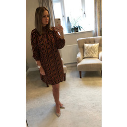 Lucy Cobb Adele High Neck Dress in Tan