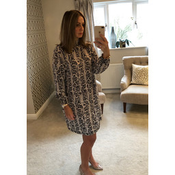 Lucy Cobb Adele High Neck Dress in Snake Print