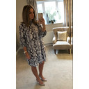 Adele High Neck Dress - Grey Animal Print