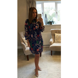 Lucy Cobb Clemmie High Neck Dress in Royal Floral