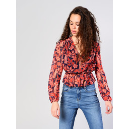 Glamorous Navy Red Floral Blouse - Navy Mix