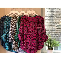 Lucy Cobb Laylah Leopard Top - Turquoise