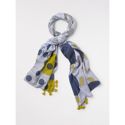 White Stuff Linnea Layers Patchwork Scarf - Blue