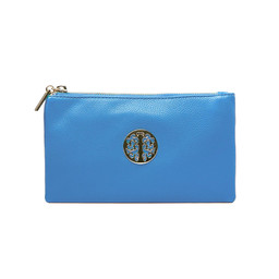 Lucy Cobb Tori Clutch With Strap - Aqua Blue