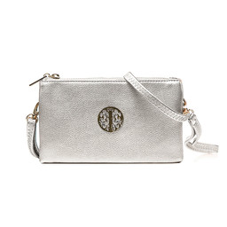 Lucy Cobb Tori Clutch With Strap - Silver