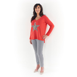 Lucy Cobb Sara Stepped Hem Star Jumper - Red