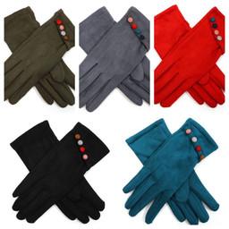 Lucy Cobb Velour Multi Colour Button Gloves - Navy