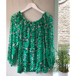 Lucy Cobb Trento Silky Leopard Top - Green