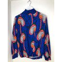 Adele Printed High Neck Blouse  - Royal Paisley