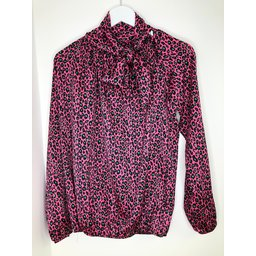 Lucy Cobb Carrie Bow Neck Top - Metallic Pink Leopard