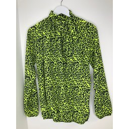 Lucy Cobb Carrie Bow Neck Top in Neon Yellow Leopard