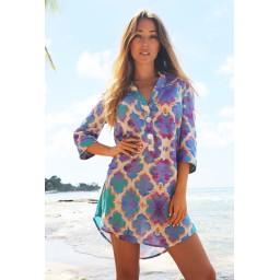 Sophia Alexia Beach Shirt - Orchid Paradise