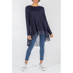 Lucy Cobb Spot Back Top - Navy