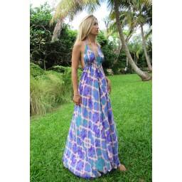 Sophia Alexia Silk Ibiza Dress Long - Orchid Paradise