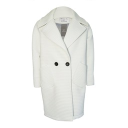 Deck Textured Stripe Zoe Coat - White