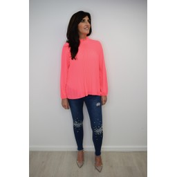 Lucy Cobb Clemmie High Neck Top in Neon Pink