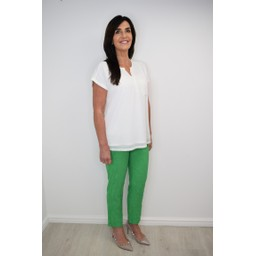 Robell Trousers Bella 09 Jacquard Trousers in Apple Green