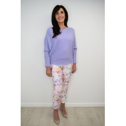 Robell Trousers Rose 09  Floral Print Trousers - White