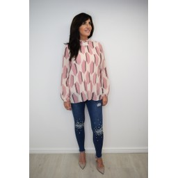 Lucy Cobb Clemmie High Neck Top in Dusky Pink Mix