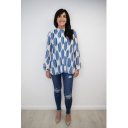 Lucy Cobb Clemmie High Neck Top in Denim Mix