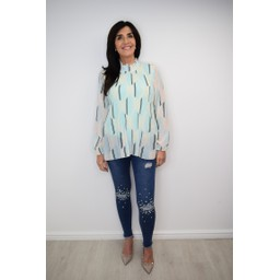 Lucy Cobb Clemmie High Neck Top in Turquoise Mix