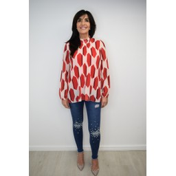 Lucy Cobb Clemmie High Neck Top in Red Mix