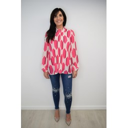 Lucy Cobb Clemmie High Neck Top in  Fuchsia Pink Mix