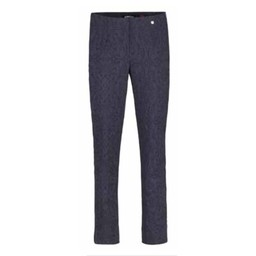 Robell Trousers Marie Jacquard Trousers in Navy