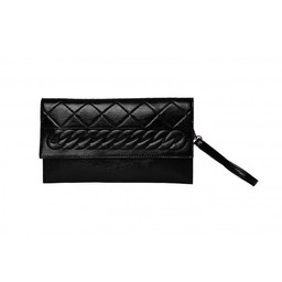 Malissa J Embossed Criss Cross Clutch - Black