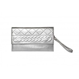 Malissa J Embossed Criss Cross Clutch - Silver