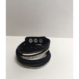 Lucy Cobb Sparkle Choker/Cuff in Black Silver Metal
