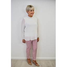 Robell Trousers Bella 09 Geo Print Trousers in Raspberry White