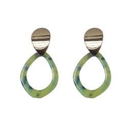 Lucy Cobb Anna Leaf Shape Resin Earrings - Lime