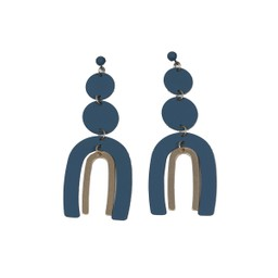 Lucy Cobb Jared Disc Ark Two Tone Statement Earrings - Blue
