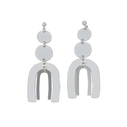 Lucy Cobb Jared Disc Ark Two Tone Statement Earrings in White