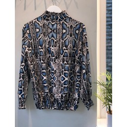 Lucy Cobb Adele Printed High Neck Blouse  - Blue Snake Print