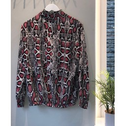 Lucy Cobb Adele Printed High Neck Blouse  - Red Snake Print